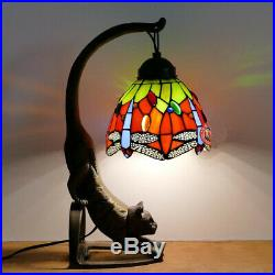 6 Red Dragonfly Tiffany Style Table Night Light with Stained Glass Lamp shade Bar