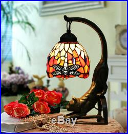 6 Vintage Tiffany Style Stained Glass Red Dragonfly Cat Table Lamp Light