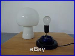 70's Table Lamp Opal Glass Mushroom Lamp