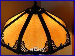 8 Panel Bent Caramel Slag Glass Lamp 2 light lamp Original Caramel Slag pane