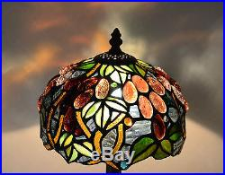 8W Grape Vine Stained Glass Tiffany Style Table Desk Lamp, Zinc Base