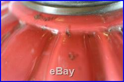 A Large Good Quality Cranberry Twin Duplex Table Oil Lamp