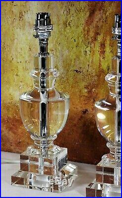 A Pair of Quality Laura Ashley Solid Crystal Glass Table Lamps Antique Style