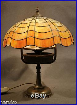 A RARE ONE MOST UNUSUAL GORHAM LEADED GLASS LAMP withAC FAN INTEGRAL IN ITS BASE