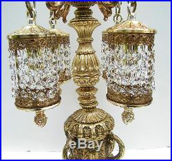 AB Crystal Waterfall Urn Prism Gold French Vtg Antique Swag Table Lamp Hollywood