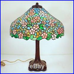 ALL ORIGINAL HANDEL Signed Arts Crafts Leaded Glass Apple Blossom Lamp 19 Shade