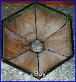 ANTIQUE 12 PANEL BENT SLAG GLASS TABLE LAMP with OVERLAY HANDEL B&H ERA