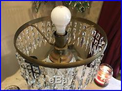 ANTIQUE AMERICAN BRILLIANT CUT GLASS CRYSTAL MUSHROOM SHADE LAMP With PRISMS 26.5