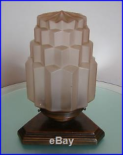 ANTIQUE ART DECO c1930 TABLE LAMP SKYSCRAPER GLOBE PINK GLASS METAL BASE