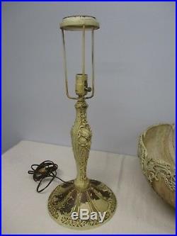 ANTIQUE BRADLEY & HUBBARD SLAG GLASS TABLE LAMP w ART NOUVEAU FLORAL BASE