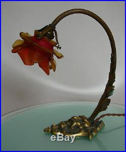 ANTIQUE BRONZE DEVIL'S HEAD FRENCH TABLE LAMP with ROSE PETALS GLASS LIGHT SHADE