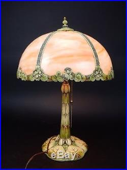 ANTIQUE Hand painted Slag glass lamp 22 inches