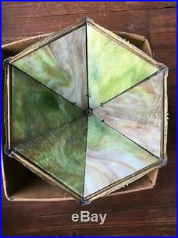 ANTIQUE MILLER BRASS/6 pc. SLAG GLASS SHADE TABLE LAMP IN GREEN withOVERLAY # 971