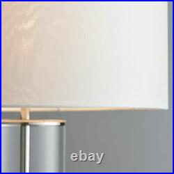 AURORA Touch Dimmer Table Lamp Bright Nickel with White Shade & Glass Base E27