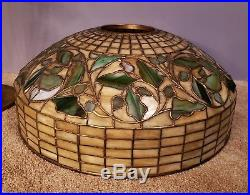 AUTHENTIC Tiffany Studios Oak Leaf & Acorn Leaded Stained Slag Glass Table Lamp