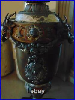 Amazing antique SLAG GLASS TABLE LAMP scenic withornate goth base 25 1/2 tall