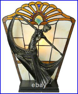 Amber Art Deco Stained Glass Lamp, Table Lamp, Stained Glass