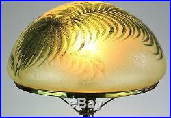 American Table Lamp Signed Handel Hand Painted with Palm Leaves c. 1910