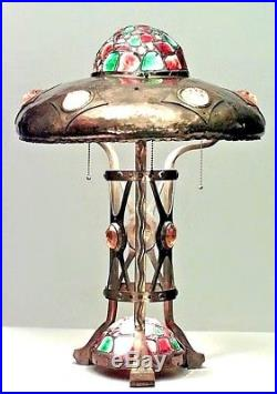 American Victorian/Mission Brass Table Lamp with Colored Glass Jewels