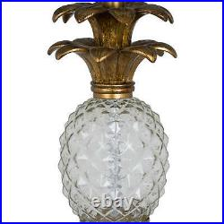 Ananas Glass Table Lamp Pineapple antique gold base and large teal blue shade