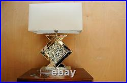 Ancona Large Modern Mirrored Glass Table Lamp Floating Crystals 69cm White Shade
