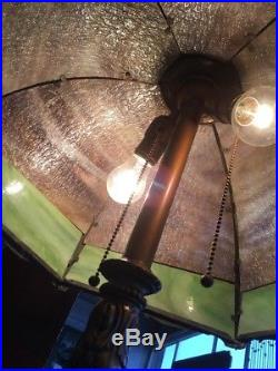 Antique 12 Panel Slag Glass Table Lamp
