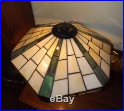 Antique 1900's 3 light Miller Large Table Lamp withCraftsman Stained Glass Shade