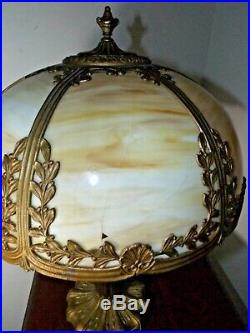 Antique 1900s Pittsburgh Co. Iridesc. Stained Slag Glass Art Nouveau Table Lamp