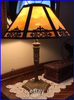 Antique (1915) Table Lamp with Carmel Slag Glass and Ornate Filagree Shade