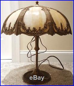 Antique 1920's Bigelow & Kennard Cast Iron Art Nouveau Slag Glass Table Lamp