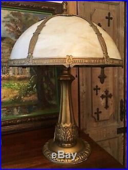 Antique 1920's Marked E. Miller & Co Slag Glass Library Lamp Excellent