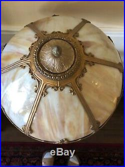 Antique 6 Panel Bent Slag Glass Table Lamp S. A. L. Co Signed