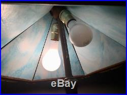 Antique 6 Panel Blue Slag Stained Glass Table Lamp C 1910 Bradley Hubbard Era