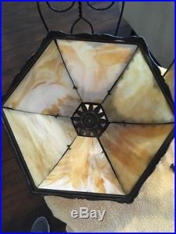 Antique 9 Panel Slag Glass Lighted Base Table Lamp Bryant Sockets