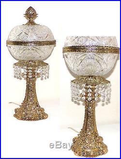Antique ART NOUVEAU Cut Crystal Lamp 24KT Gold over Brass Vintage Lamps Lighting