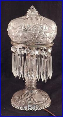 Antique American Brilliant Cut Glass Mushroom Table Lamp30 Crystal PrismsVGC