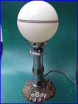 Antique Art Deco Chrome Lighthouse Lamp w Glass Shade Aust. Original 1930's