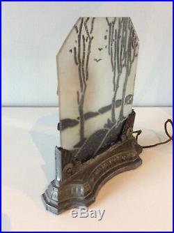 Antique Art Deco Glass Shade Panel Dresser Lamp 1930's