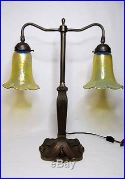Antique Art Deco/Nouveau Bronze Table Desk Student Library Lamp Glass Stained