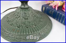 Antique Art Nouveau Blue 8 Panel Slag Glass Verdigris Table Lamp Signed