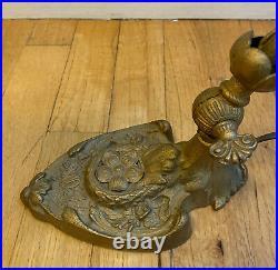Antique Art Nouveau Floral Iron Table Lamp with Aurene Glass Shade