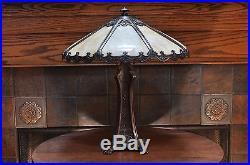 Antique Art Nouveau Large 8 Panel Slag Glass Lamp