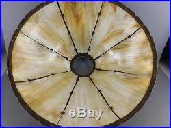 Antique Art Nouveau Ornate Bronzed Metal 8 Panel Slag Glass Shade Table Lamp