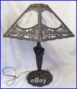 Antique Art Nouveau SLAG GLASS 6 Panel Electric TABLE LAMP -WORKS