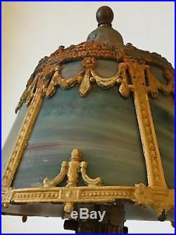 Antique Art Nouveau Slag Multi-Color Glass Boudoir/Table Lamp