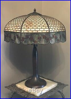 Antique Arts & Craft SIGNED HANDEL Slag Glass Table Lamp Shade & Base Signed