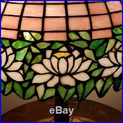 Antique Arts & Crafts Handel Leaded Slag Stained Glass Water Lily Table Lamp