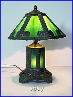 Antique Arts & Crafts Lead & Green Slag Glass Panel Table Lamp Mission