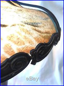 Antique Arts & Crafts Nouveau Handel Era Reverse Pattern Slag Glass Lamp Repair