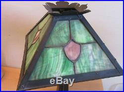 Antique Arts & Crafts Slag Stained glass table lamp Signed R& for repair